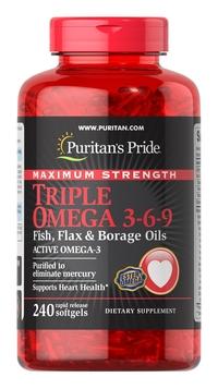 Puritan's Pride Maximum Strength Triple Omega 3-6-9 Fish, Flax & Borage Oils | Buy in Nigeria